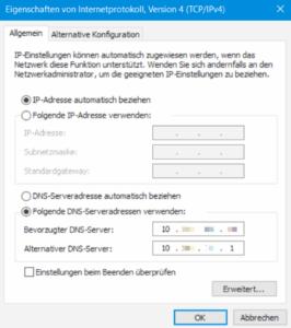 IPV4 Netzwerkeinstellungen für AD-Anbindung