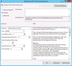 Windows-NTP-client konfigurieren mit Type NT5DS